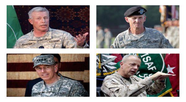 Foto : 4 Jendral AS di Afghanistan, atas (McKiernan & McChrystal), bawah (Petraeus & Allen) (AP)