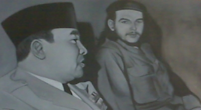 Lukisan Soekarno dengan Che Guevara di GIM (Foto: Okezone/Iman Herdiana)