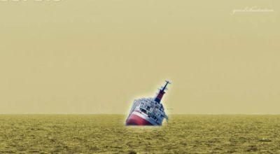 Ilustrasi kapal tenggelam