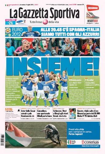 Halaman depan La Gazzetta dello Sport edisi Minggu (1/7) ini