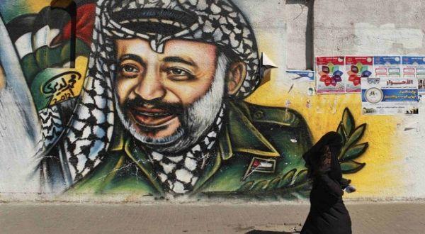 Karya seni yang menampilkan Arafat (Foto: Reuters)