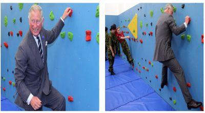 Pangeran Charles saat memanjat dinding (Foto: PA Images)