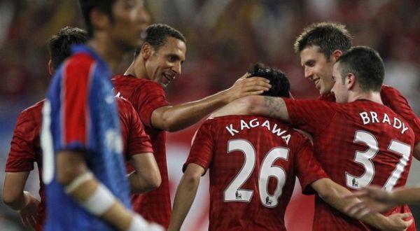 Para pemain Man.United merayakan gol yang dicetak Shinji Kagawa (Foto: Reuters)