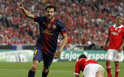Fabregas usai membobol gawang Benfica (Foto: Reuters)