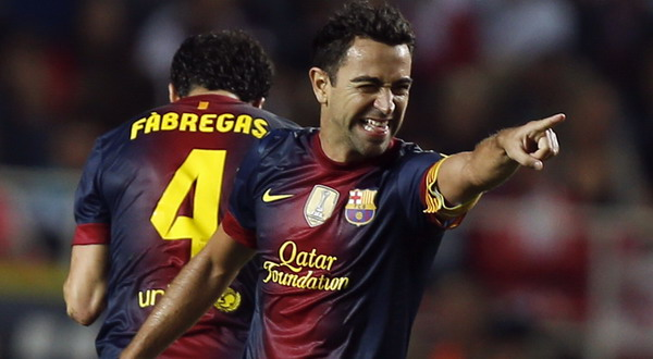 Selebrasi gol Xavi Hernandez (Foto: Reuters)