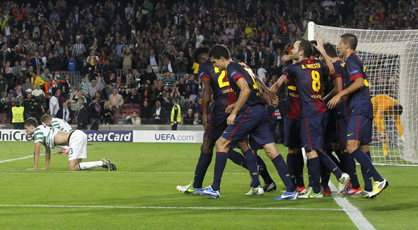 Selebrasi kemenangan para pemain Barcelona atas Celtic. (Foto: Reuters)