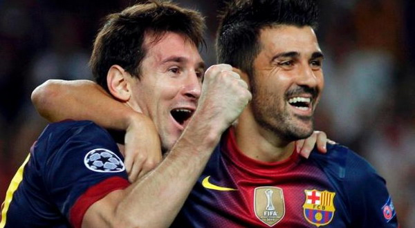 Lionel Messi dan David Villa. (Foto: Reuters)