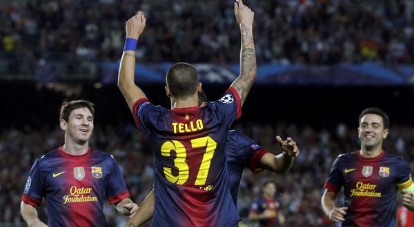 Pemain muda Barca Cristian Tello merayakan gol (Foto: Reuters)