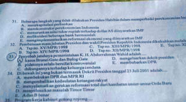Soal Uas Hina Gus Dur Kemenag Kanwil Propinsi Jawa Barat Lalai Okezone News
