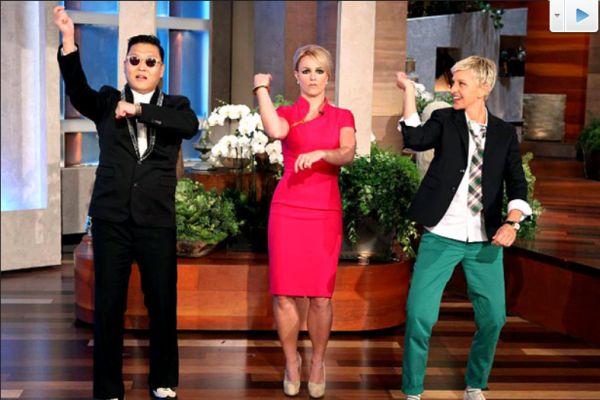 Psy ajari Britney Spears di acara The Ellen DeGeneres Show