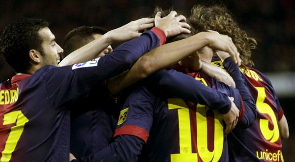 Selebrasi pemain Barcelona (Foto: Reuters)