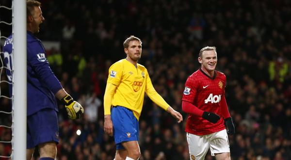 Ekspresi muka Wayne Rooney usai menjebol gawang Southampton. (Foto: Reuters)