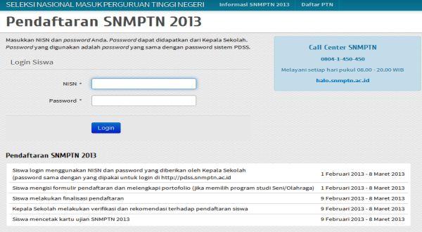 Tampilan laman pendaftaran SNMPTN 2013. (ist.)