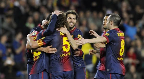 Para pemain Barcelona. (Foto: Reuters)