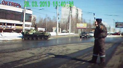Tank yang tabrak tiang (Foto: Orange)