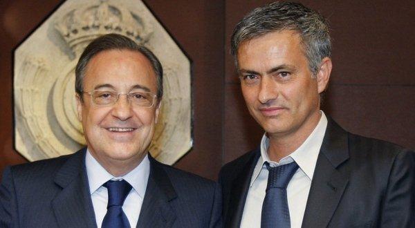 Jose Mario dos Santos Mourinho Felix (kanan) & Florentino Perez Rodriguez (Foto: Reuters)