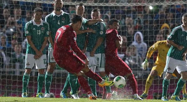 Ronaldo saat melakukan free-kick. (Foto: Dailymail)