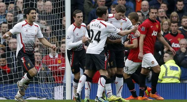 Para pemain Liverpool merayakan gol dari Gerrard. (Foto: Reuters)