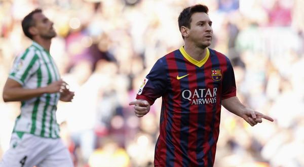 Selebrasi gol dari Lionel Messi. (Foto: Reuters)