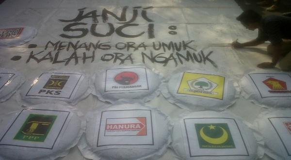 Aksi tanda tangan dukung pemilu damai (Foto: Bramantyo/Okezone)