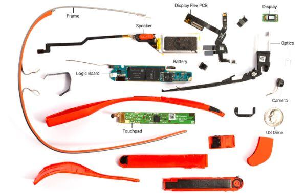 Berbagai komponen Google Glass.