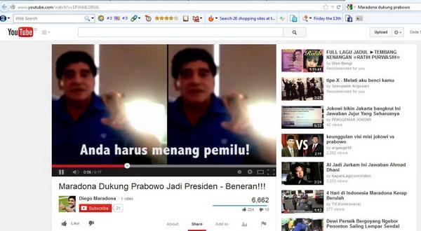 Didukung Maradona, Ini Komentar Prabowo