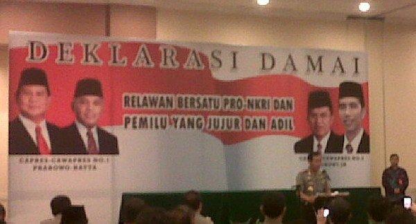 Relawan Prabowo dan Jokowi Deklarasi Pemilu Damai