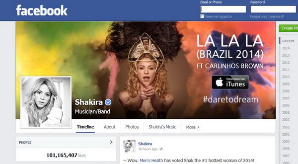 Shakira Capai 100 Juta Likes di Facebook