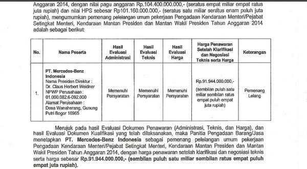 F: PT Mercedez Benz Indonesia memenangkan lelang pengadaan kendaraan menteri (Setneg)