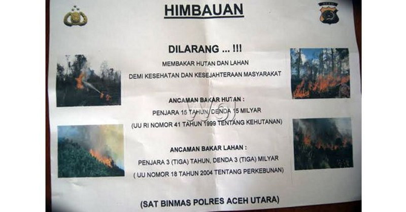 Kemarau Polisi Sebar Selebaran Sanksi Si Pembakar Hutan