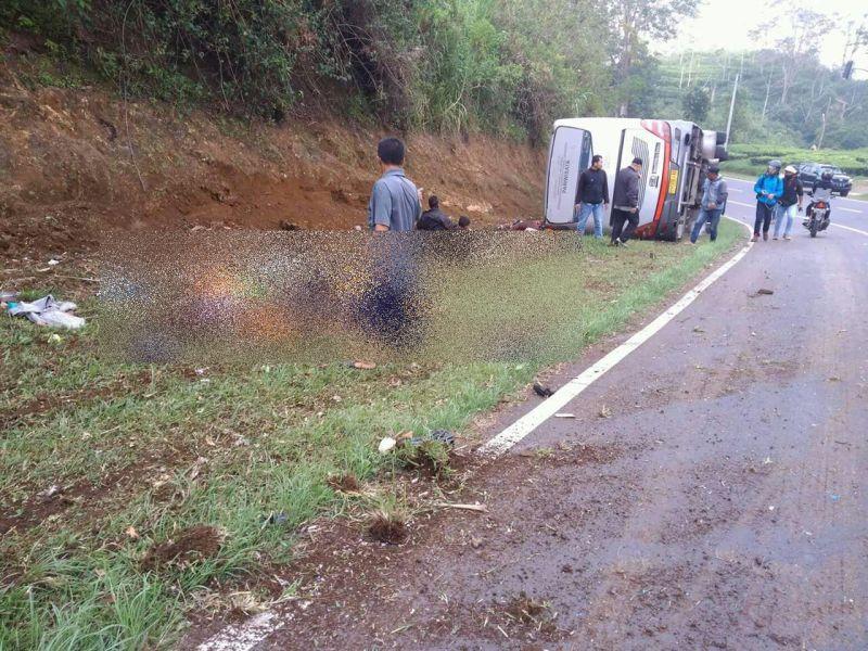 Bus kecelakaan di Tanjakan Emen, Subang, Jawa Barat (Foto: Ist)