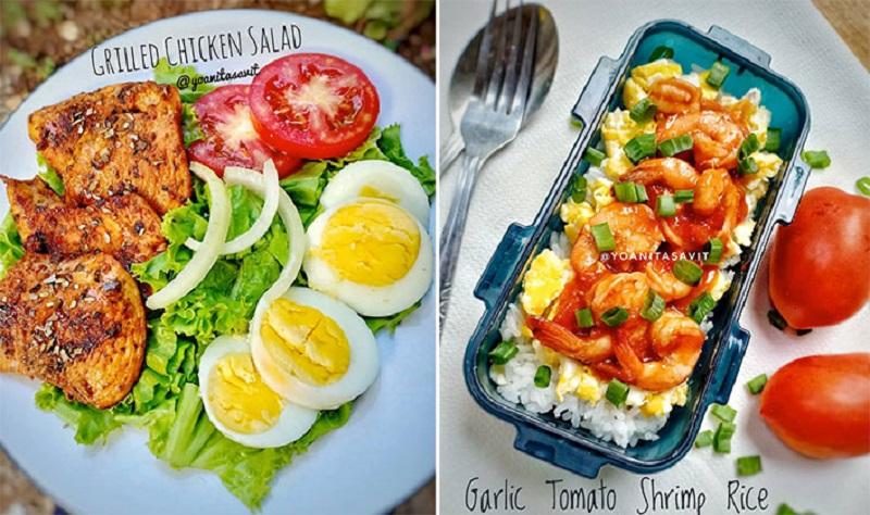 Menu Diet Sehat Grilled Chicken Salad Dan Garlic Tomato Shrimp