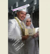 Serba Putih, Busana Pernikahan Husein Idol - Annisa Nabila Simpel tapi Elegan dengan Taburan Swarovski