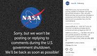 Pemerintah AS Shutdown, NASA 'Cuti' dari Instagram