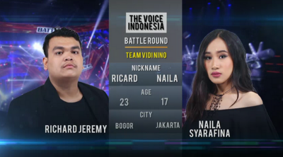 Lawan Richard di Babak Battle Round The Voice Indonesia, Naila Tereliminasi