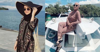 Inspirasi Gaya OOTD Olla Ramlan dan Mega Iskanti saat Berlibur di Pantai