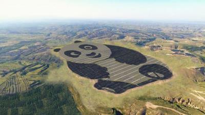 Unik, China Bikin Ladang Panel Surya Berbentuk Panda