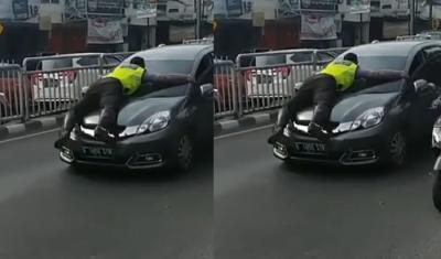 Viral Polisi Ditabrak Mobil saat Hendak Beri Tilang, Ini Komentar Netizen