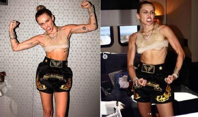 Intip Tampilan Gaya Miley Cyrus Tanpa Bra, Bikin Netizen Gagal Fokus!