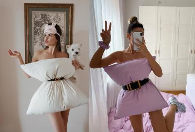 Uniknya Dress Cantik dari Bantal, Bisa Jadi Outfit WFH Nih!