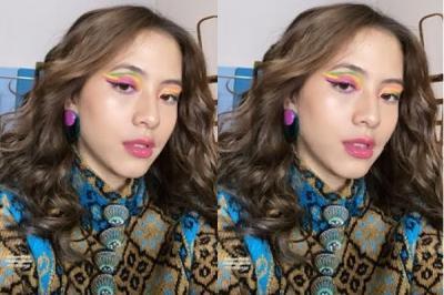 Zara Adhisty Tampil Beda dengan Eyeshadow Pelangi, Duh Imut Banget Sih